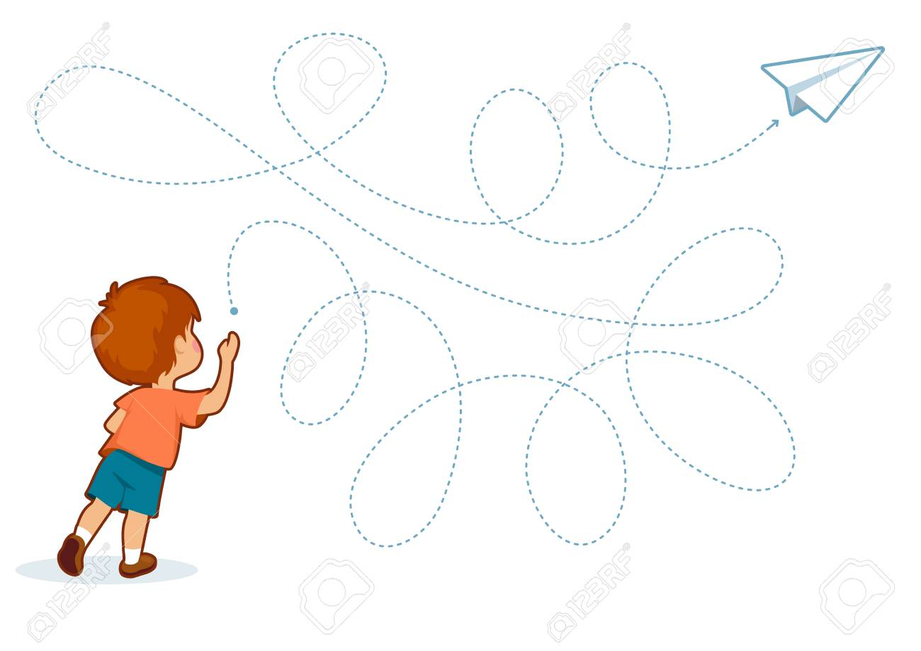 Educational printable games for the development of fine motor skills in kids. Baby's finger allow along the tracks. Vector illustration - 124721749