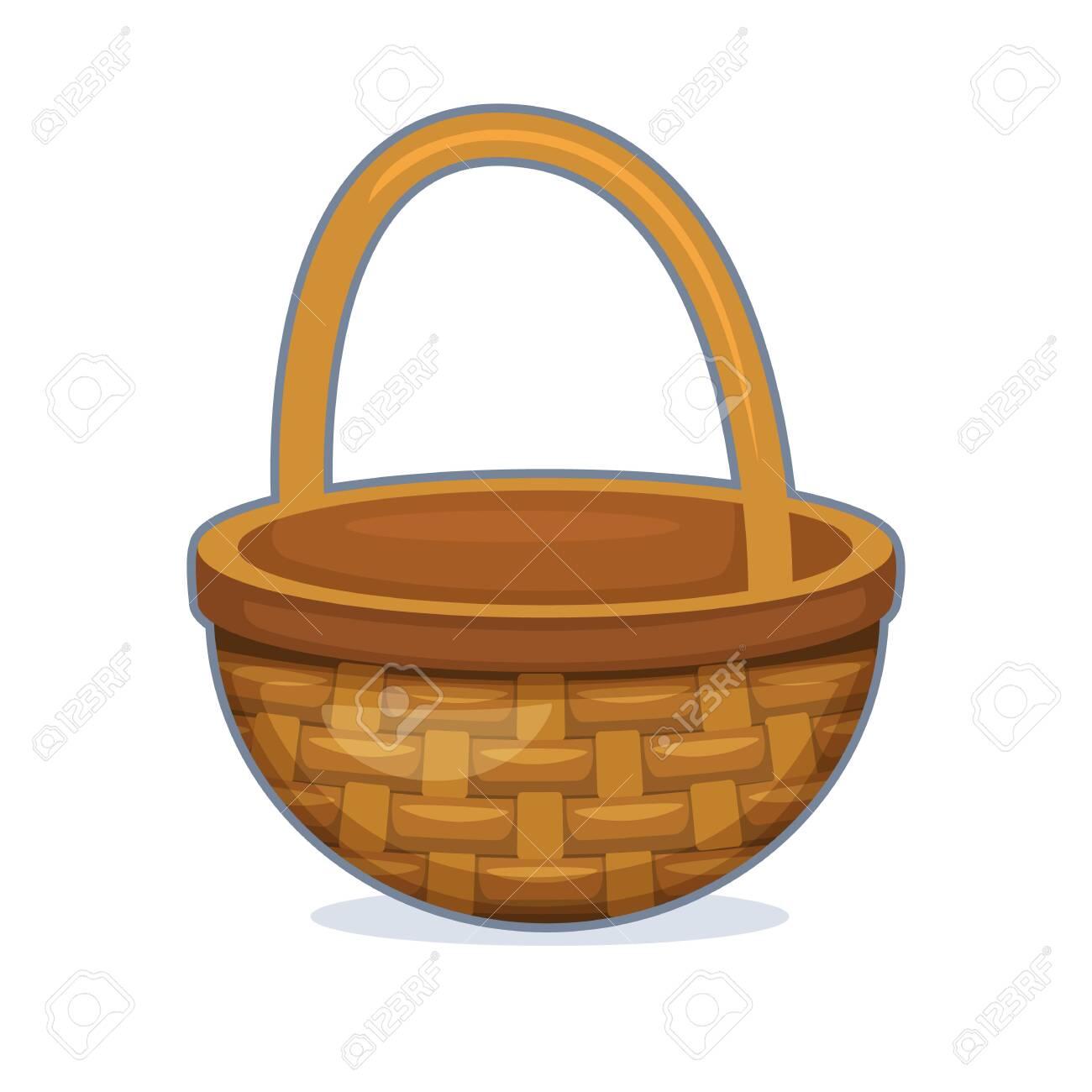 Vector illustration of wicker basket on white background - 130346665