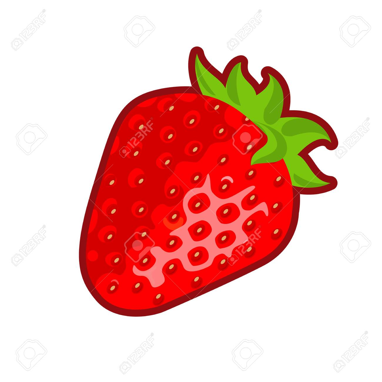 Vector illustration of red ripe strawberry on white background - 130346664