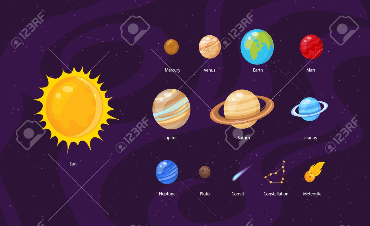 Vector illustration of Space background with stars and planets - 130346663