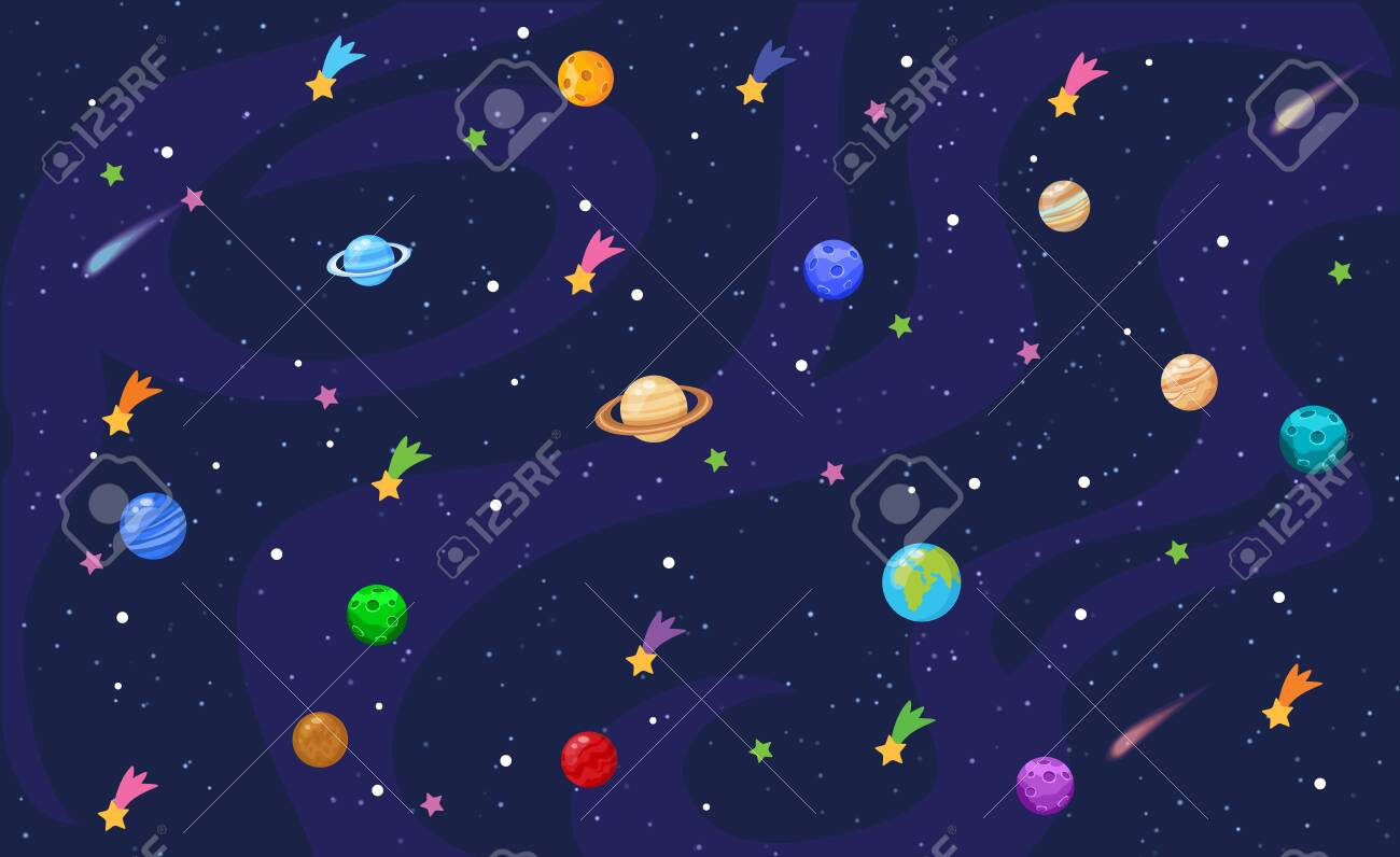 Vector illustration of Space background with stars and planets - 130346670