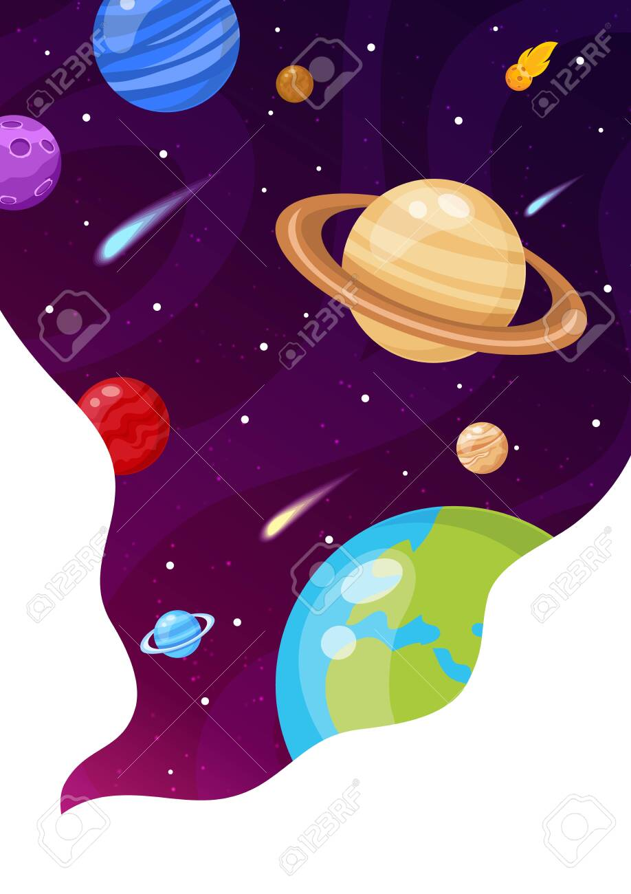 Vector illustration of Space background with stars and planets - 130346671
