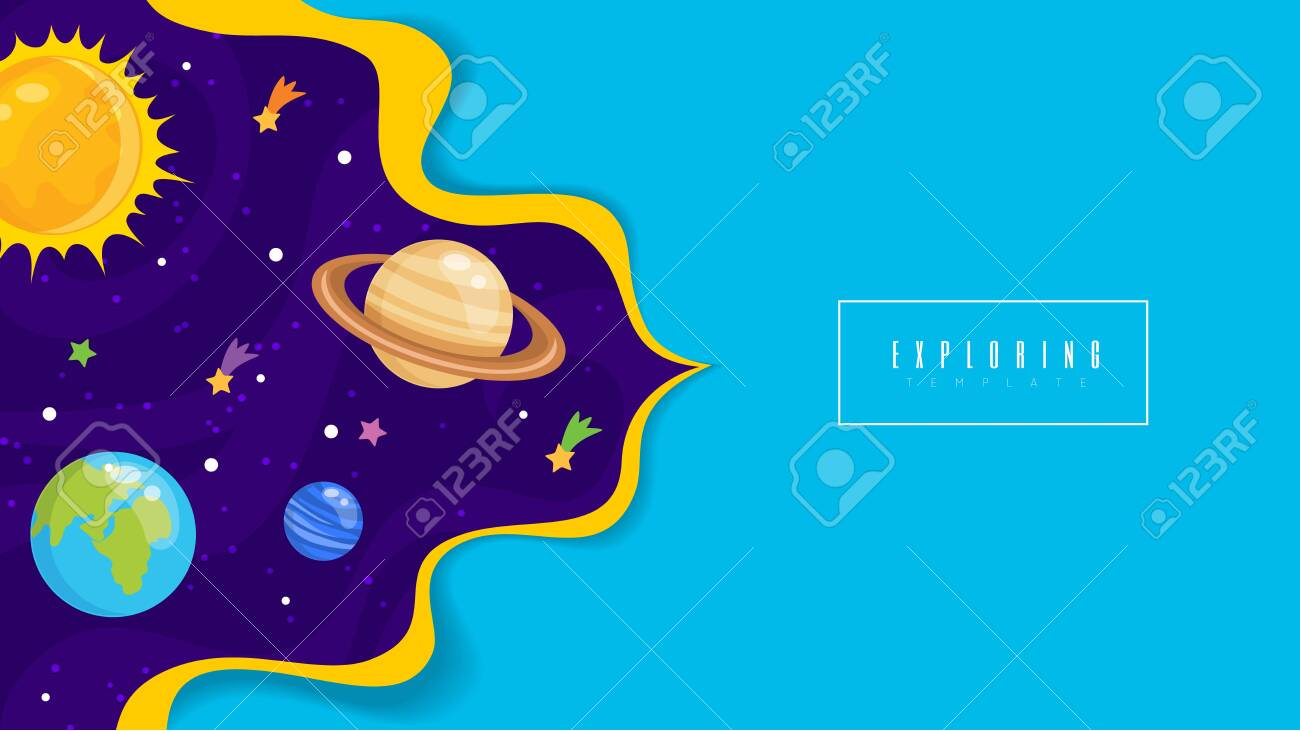 Vector illustration of Space background with stars and planets - 130346793