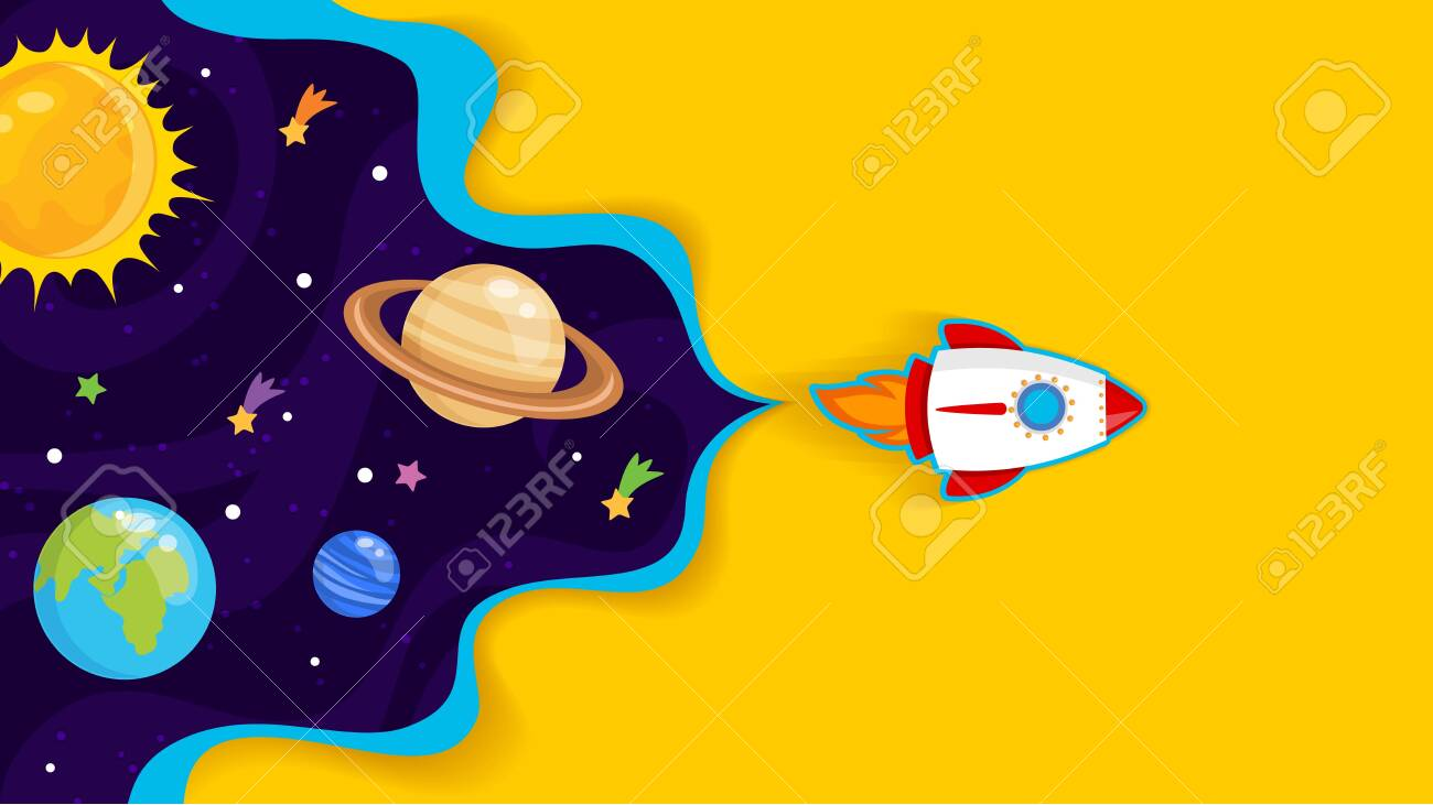 Vector illustration of Space background with stars and planets - 130346796