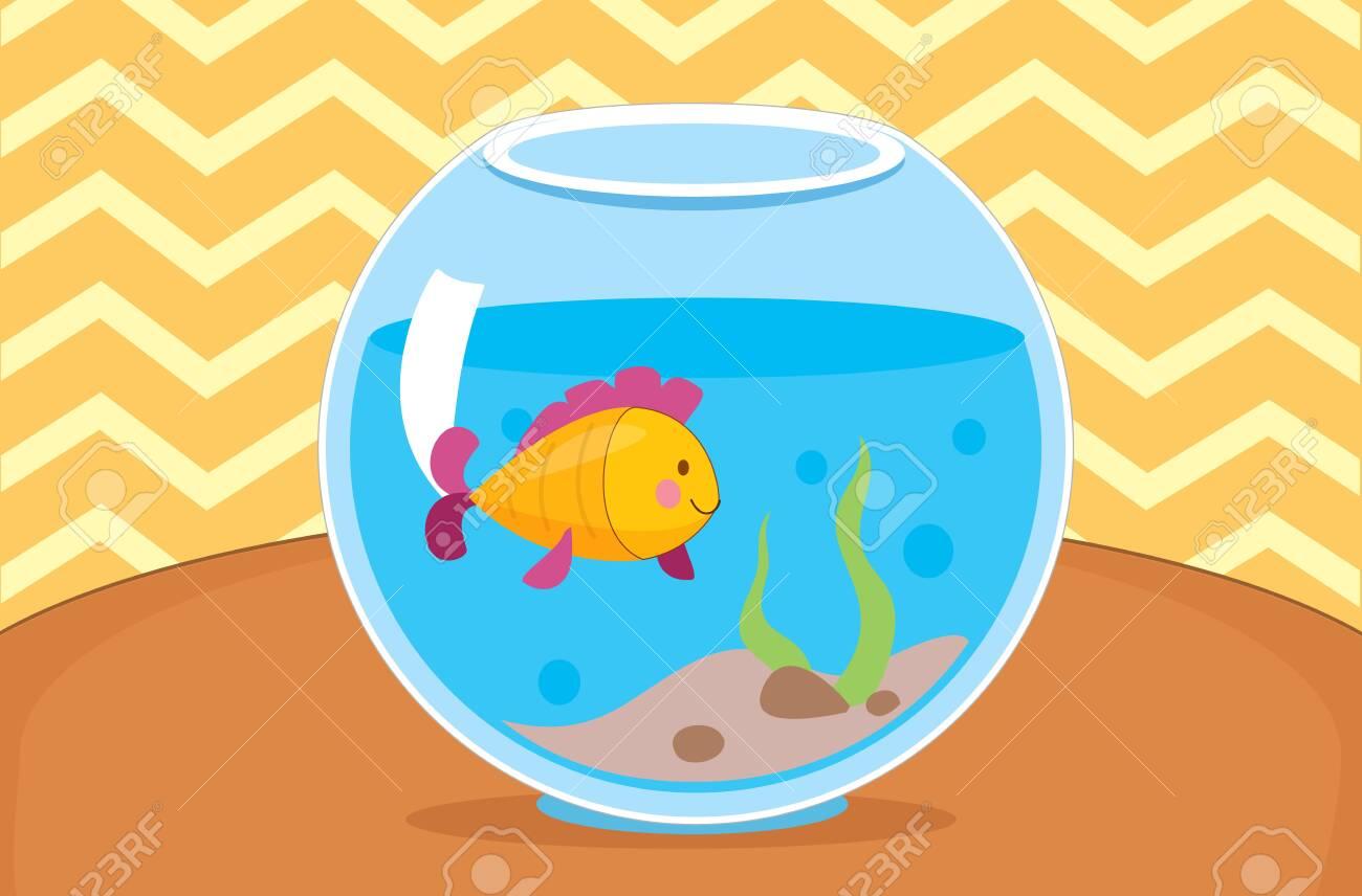 Vector illustration of yellow fish in the aquarium. Indoor interior - 130346801