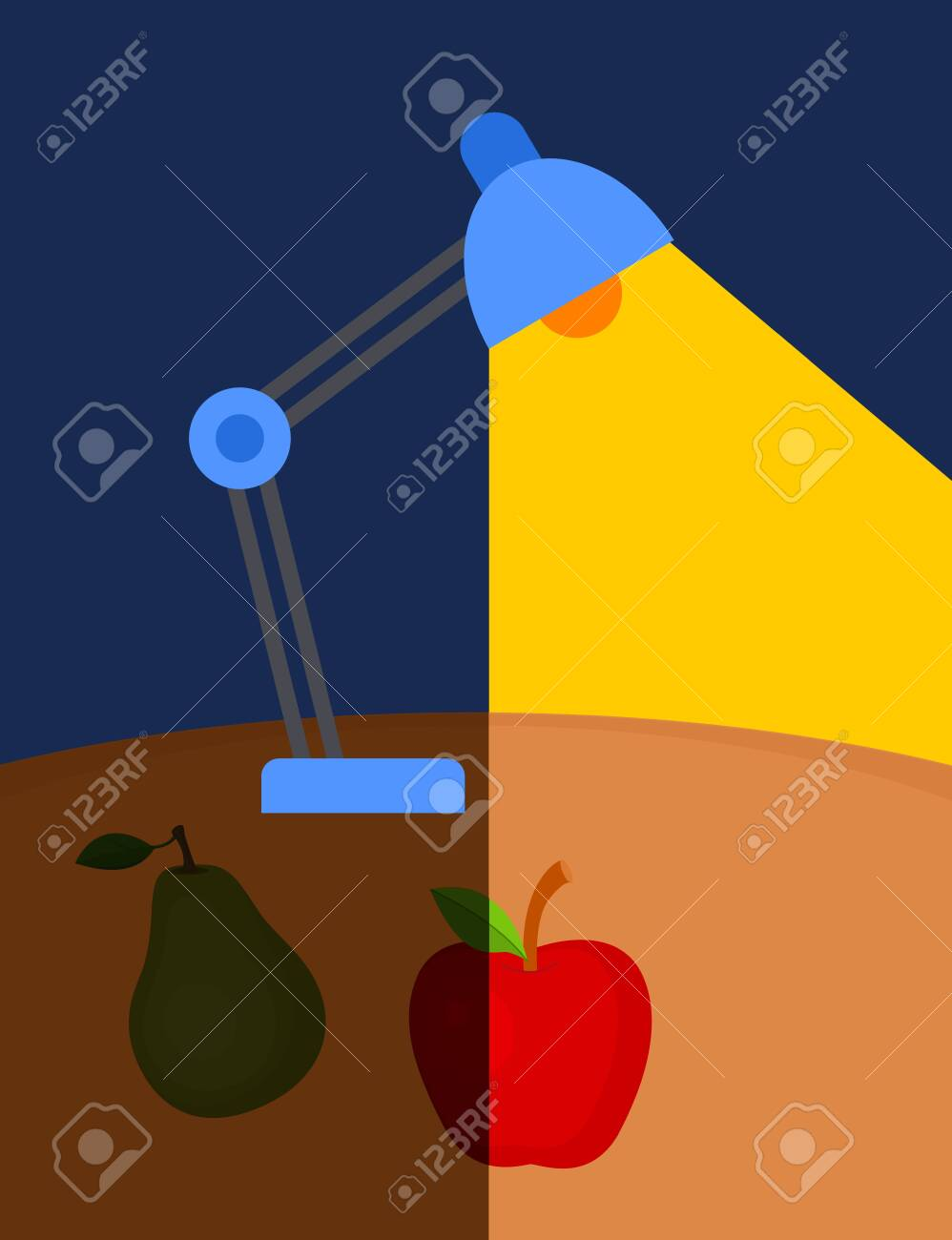 Vector illustration of lamp lighting at the table with apple and pear - 130346799