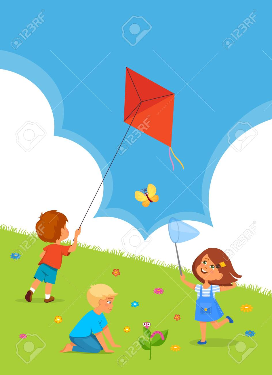 Vector illustration of kids playing outdoors. Boy with kite and girl with net - 130346798