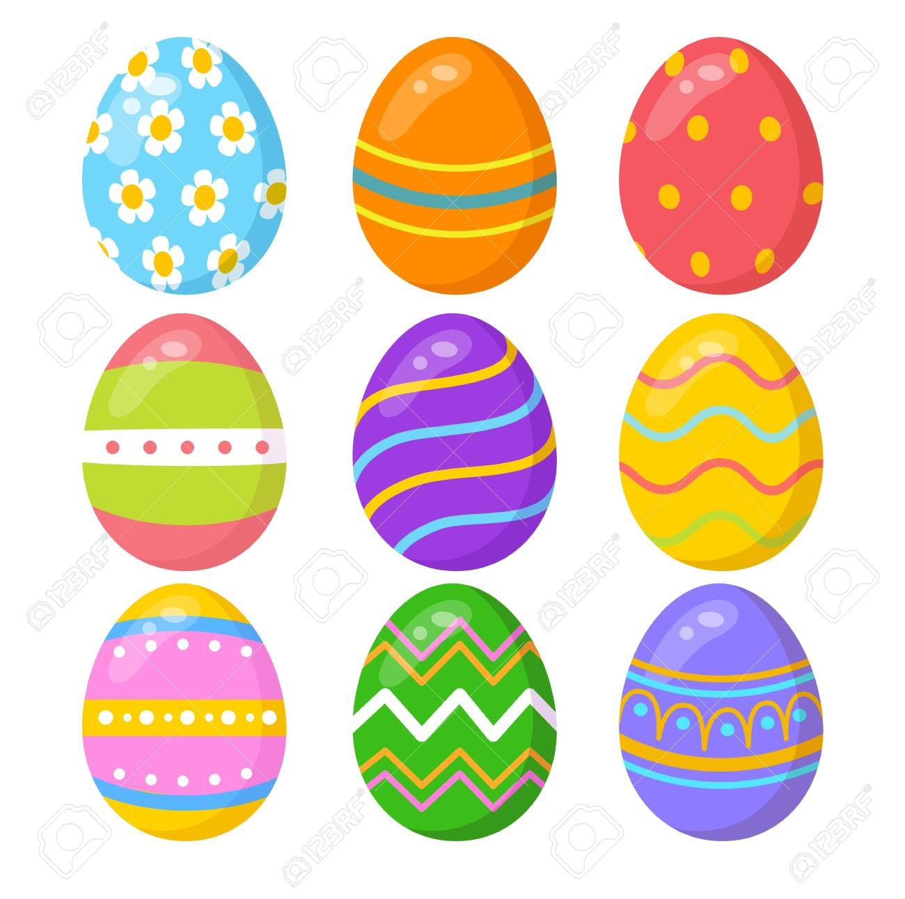 Set of colorful easter eggs on white background - 130346804