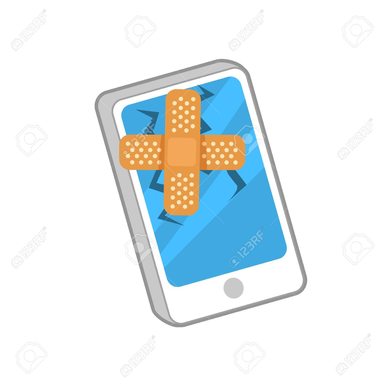Vector illustration of smartphone with broken screen and plaster on it. - 130346806