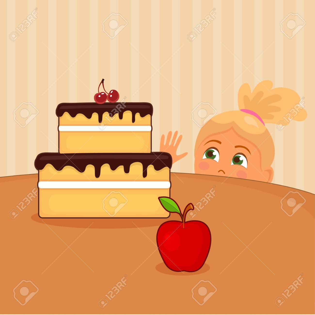 Vector illustration of girl who wishes to take cake on table - 130347057
