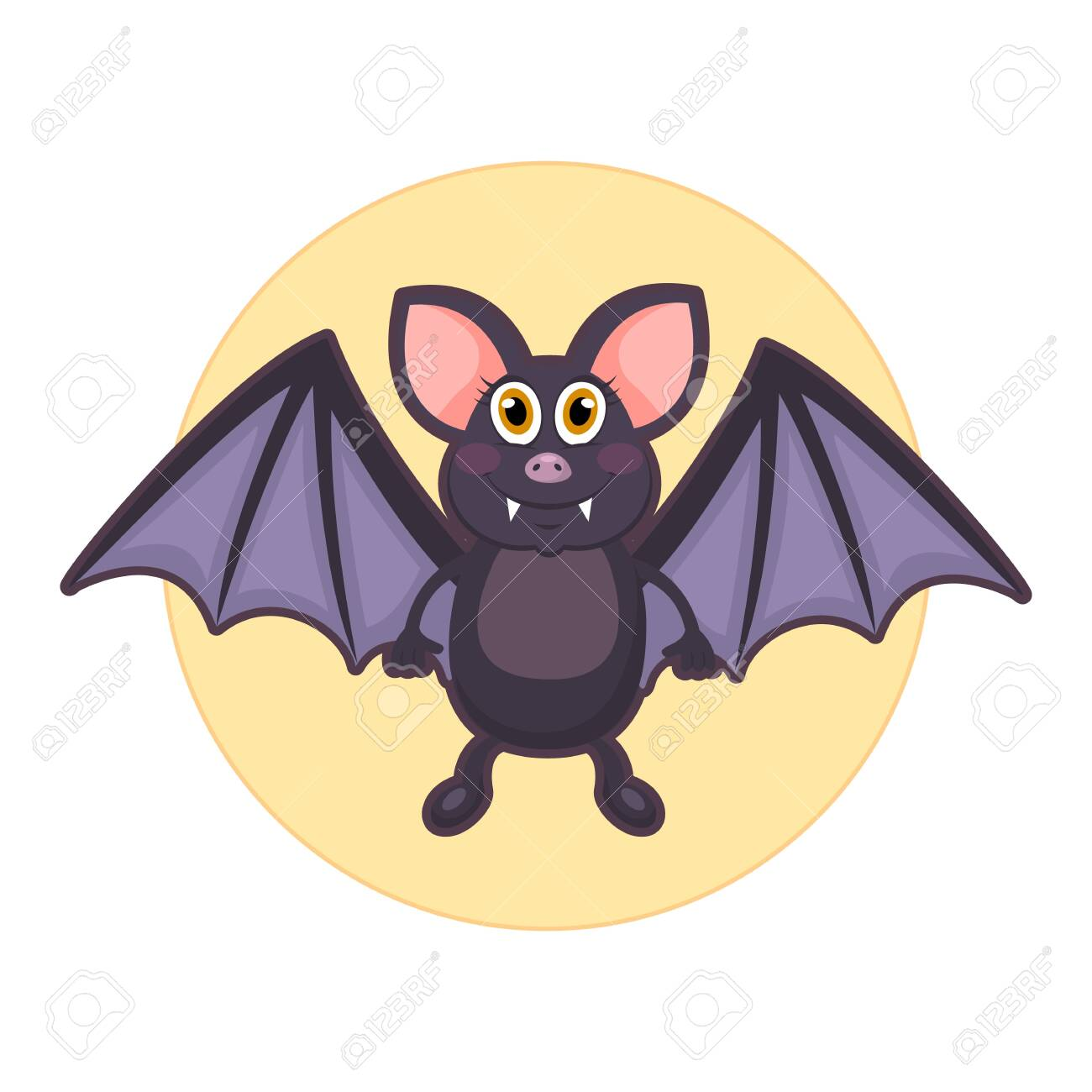 Vector illustration of cute bat on white background - 130347066