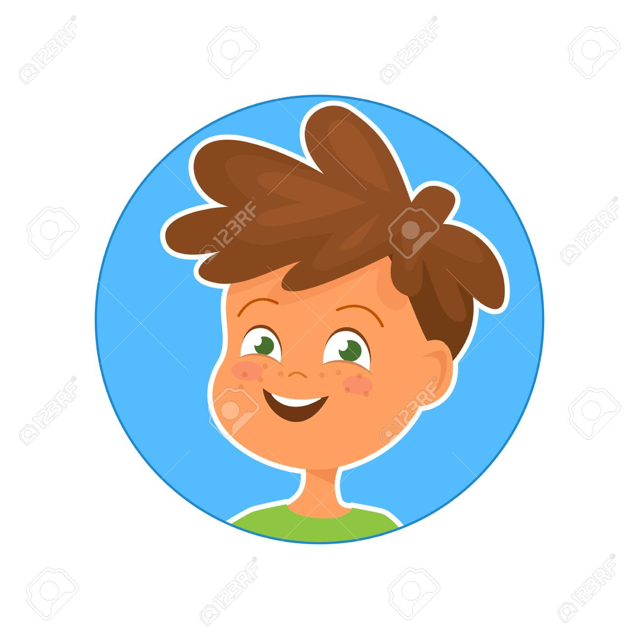 Vector illustration of happy boy on blue background - 130347064
