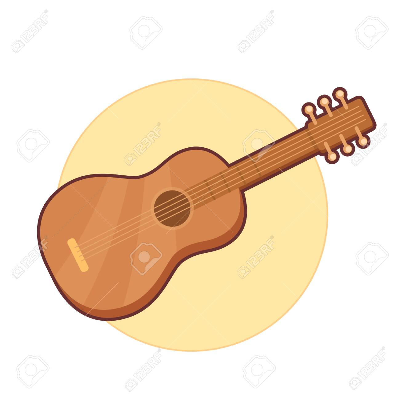 Vector illustration of wooden guitar on yellow background - 130347071