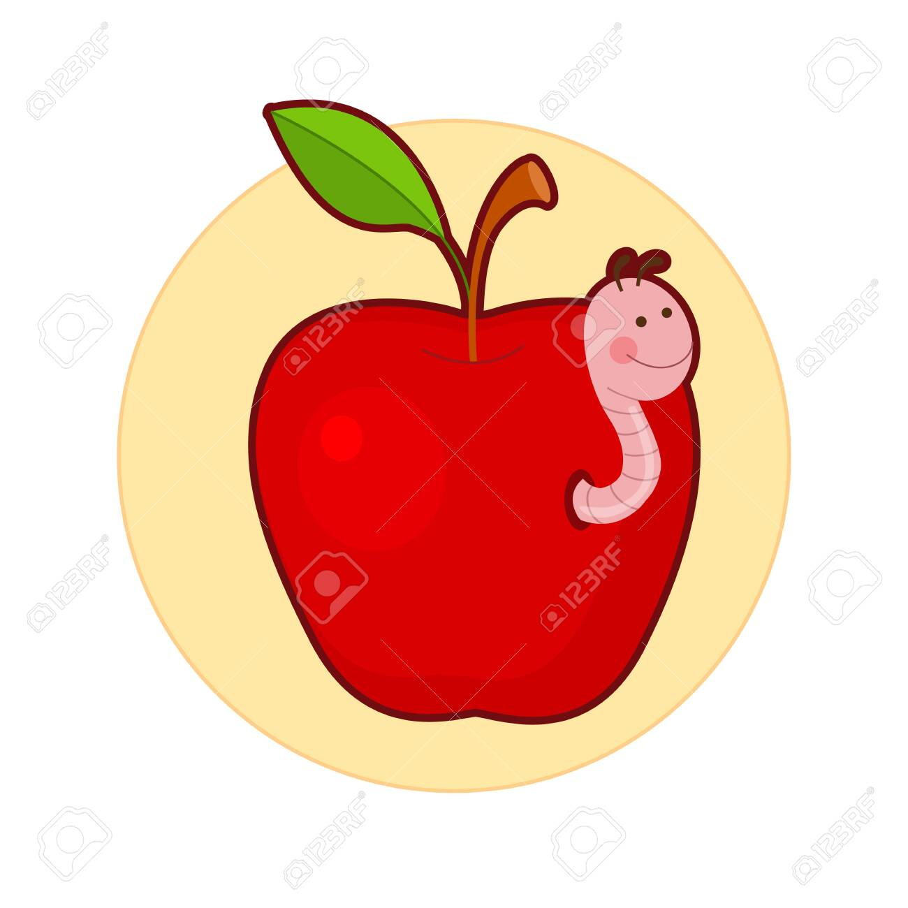 Vector illustration of apple with cute worm in it - 130347077