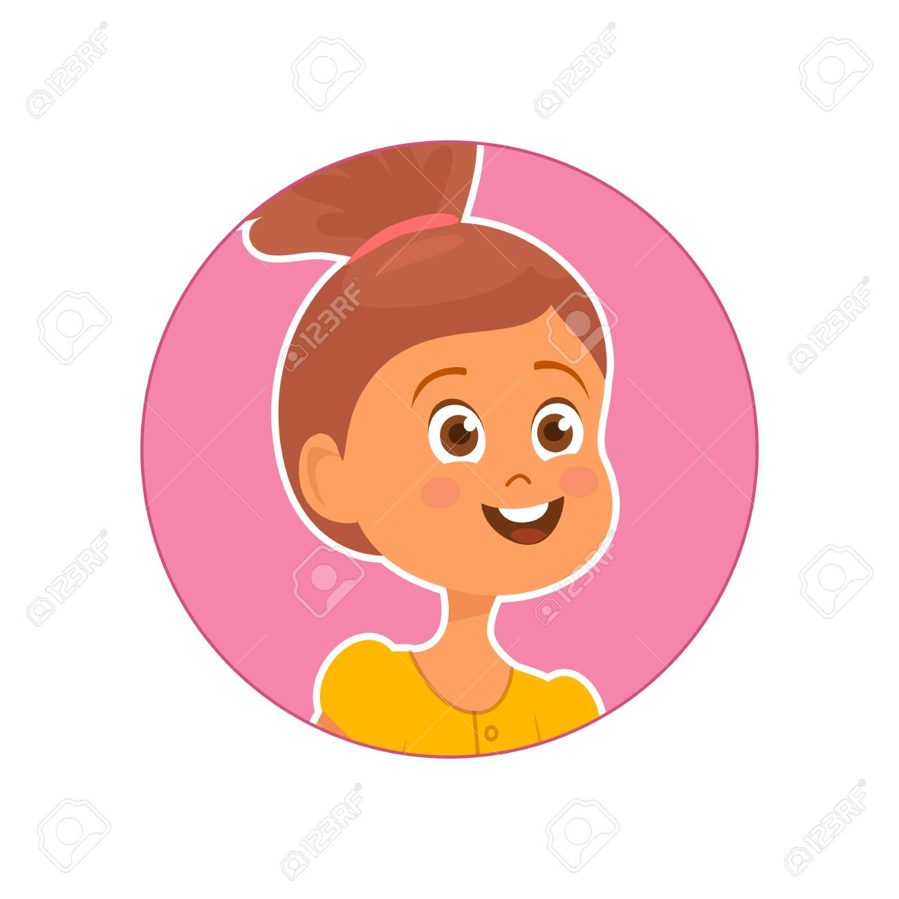Vector illustration of cute smiling girl on pink background - 130347260