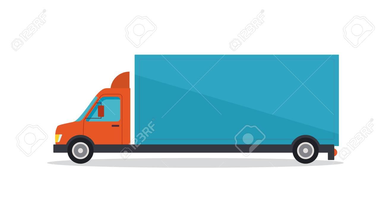 Vector illustration of long blue truck on white background - 130347256