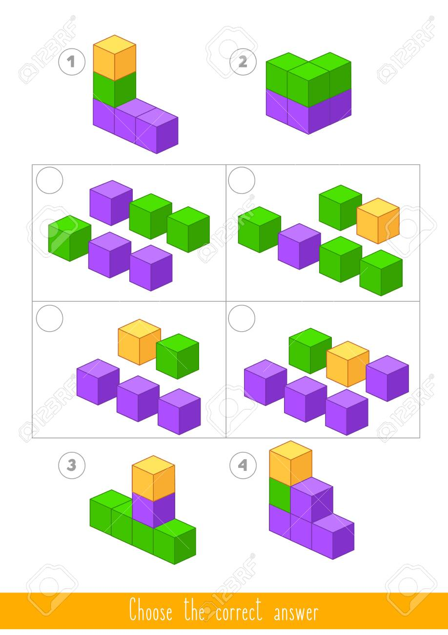 Educational game for kids. Find the correct answer. Vector illustration - 130347364