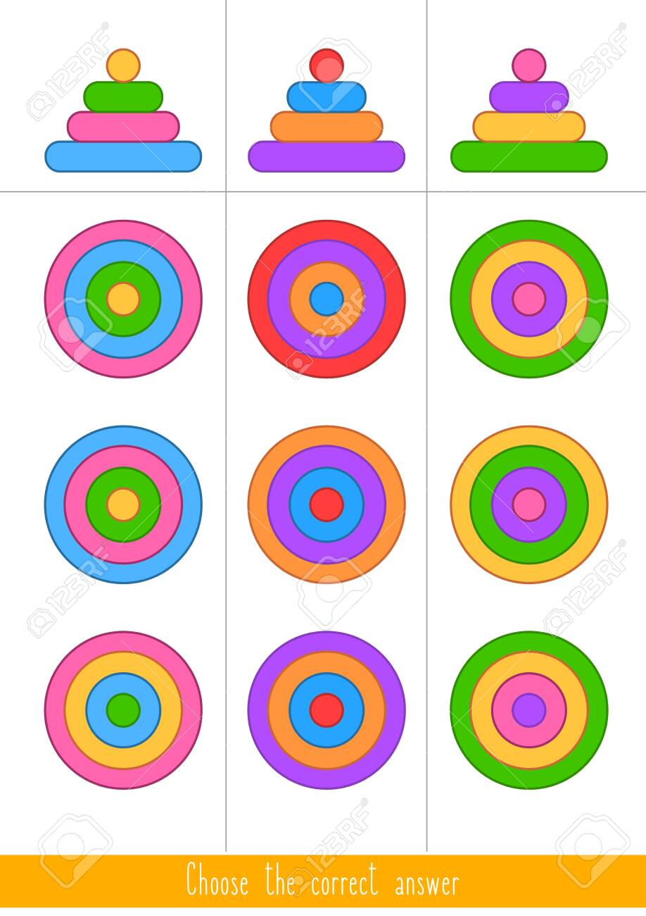 Educational game for kids. Find the correct answer. Vector illustration - 130347382