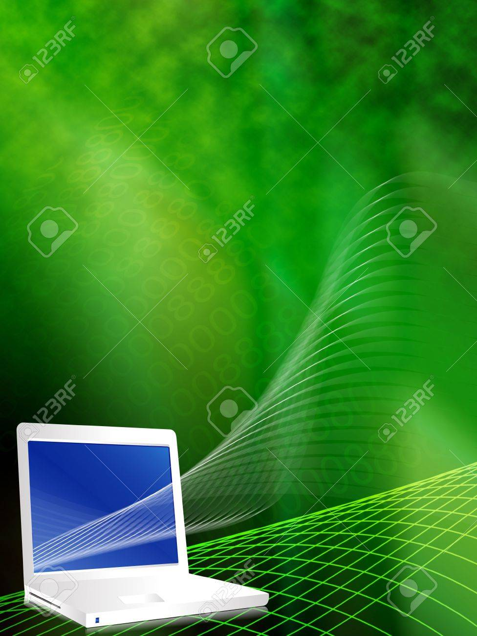 Lap top in cyber effect vector illustration background in green Stock Illustration - 2191929