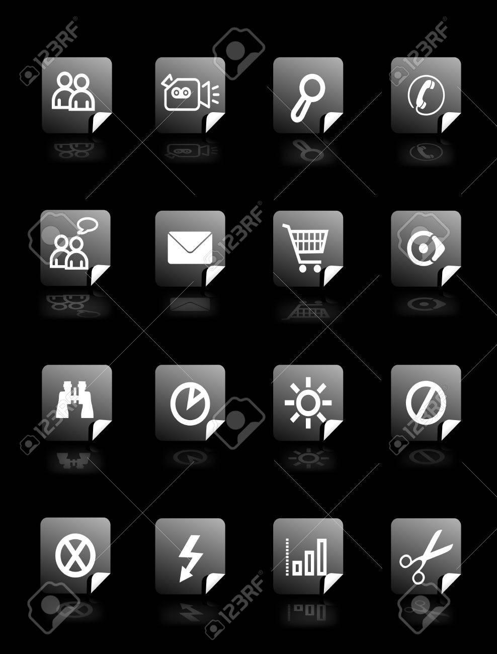 Definir Des Boutons De Vecteur Sur Fond Noir Avec Pictogrammes Pour Le Web Papier Peint Banque D Images Et Photos Libres De Droits Image 2201701