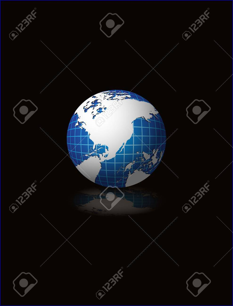 Globe vecter illustration on black abstract background Stock Illustration - 2202068