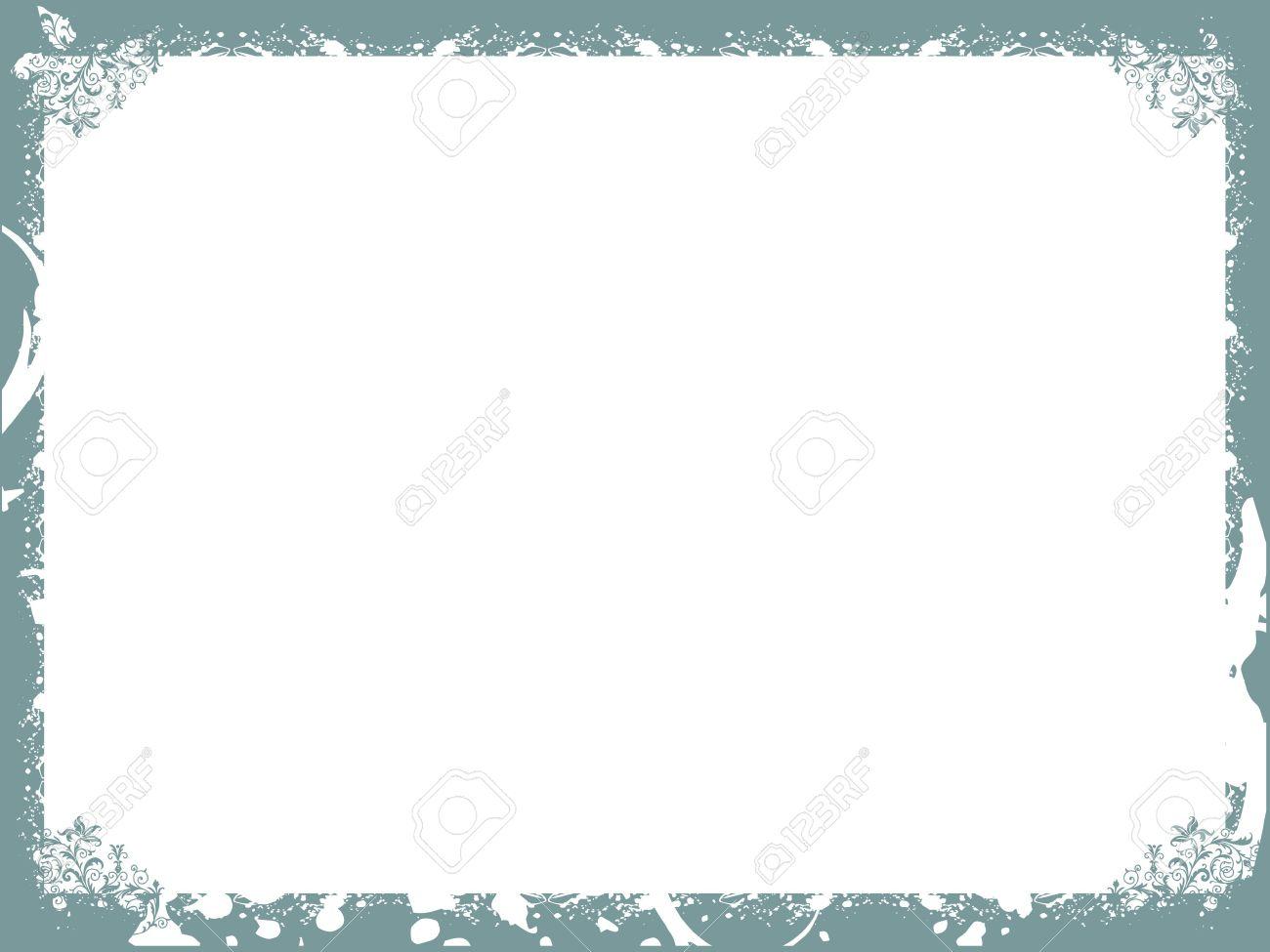 Floral Dark Cyan Border Background Frame, Wallpaper Stock Photo ...