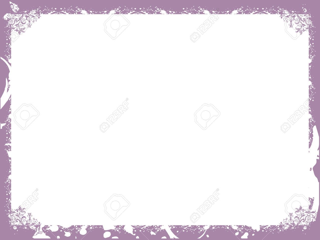 Floral Purple Border Background Frame Wallpaper Stock Photo