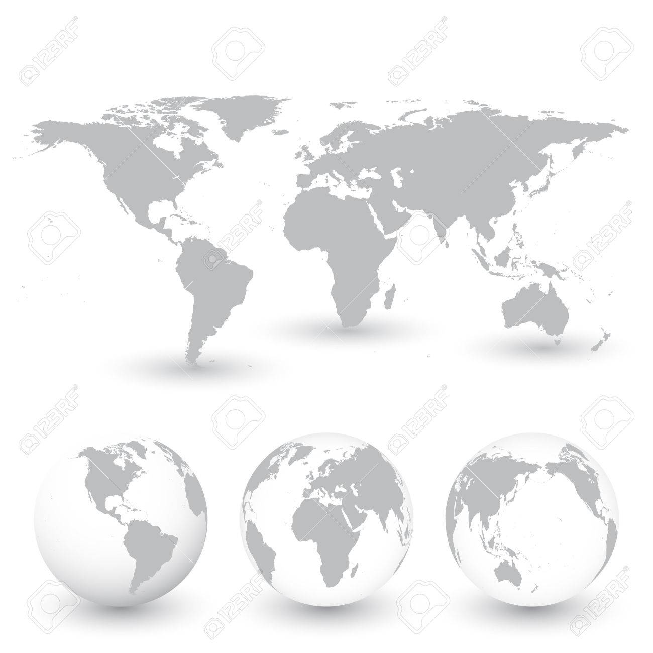 Grey World Map And Globes Vector Illustration. Royalty Free Cliparts ...