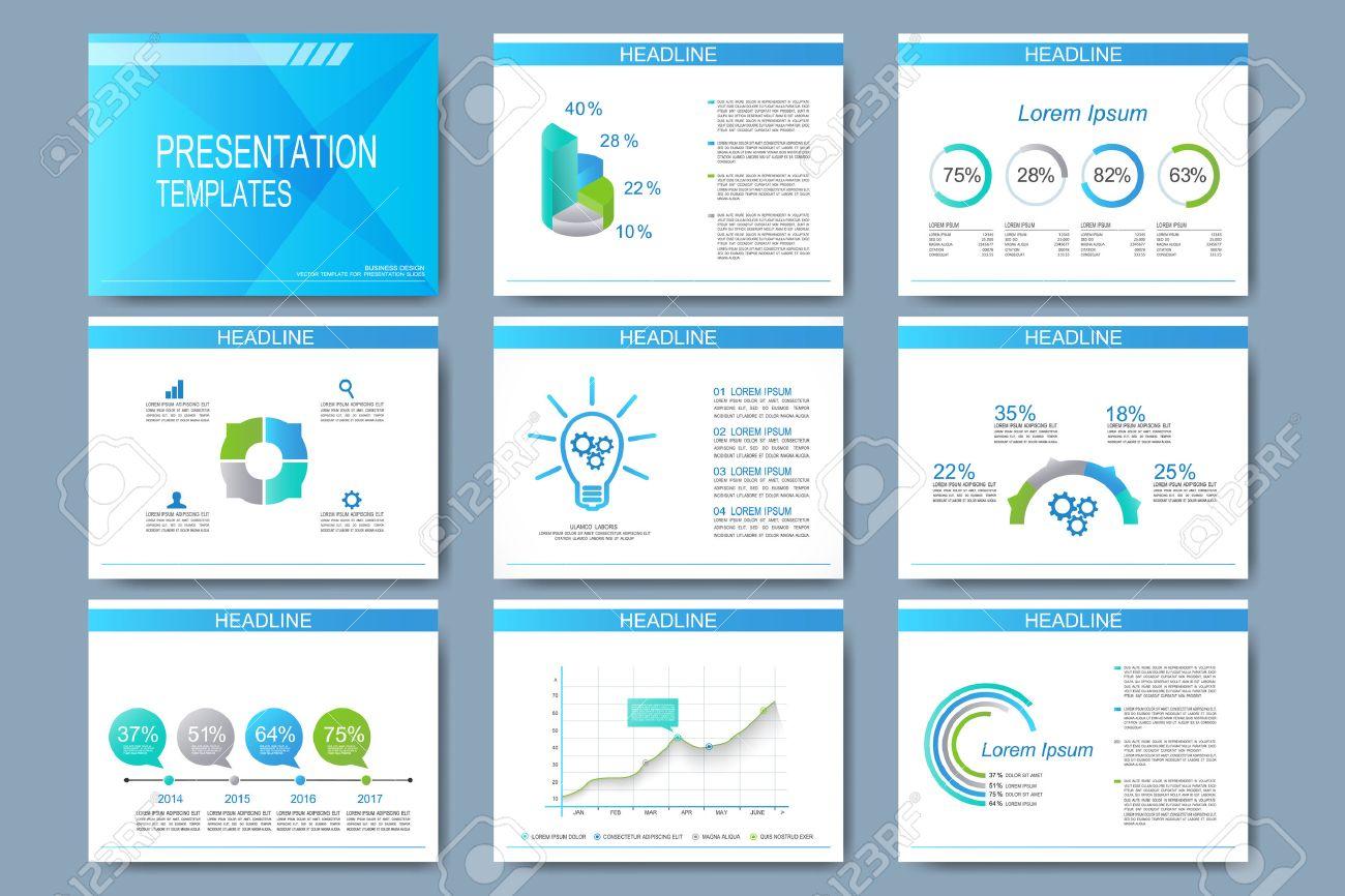 Blue Set Of Vector Templates For Presentation Slides. Modern ...