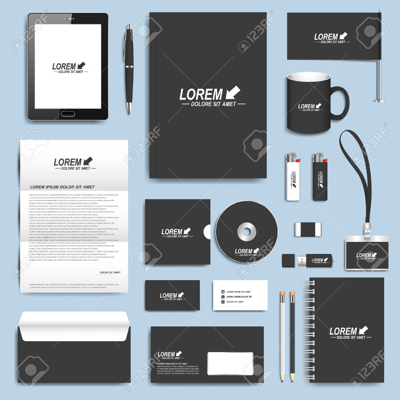 Black Set Of Vector Corporate Identity Templates. Modern Business ...