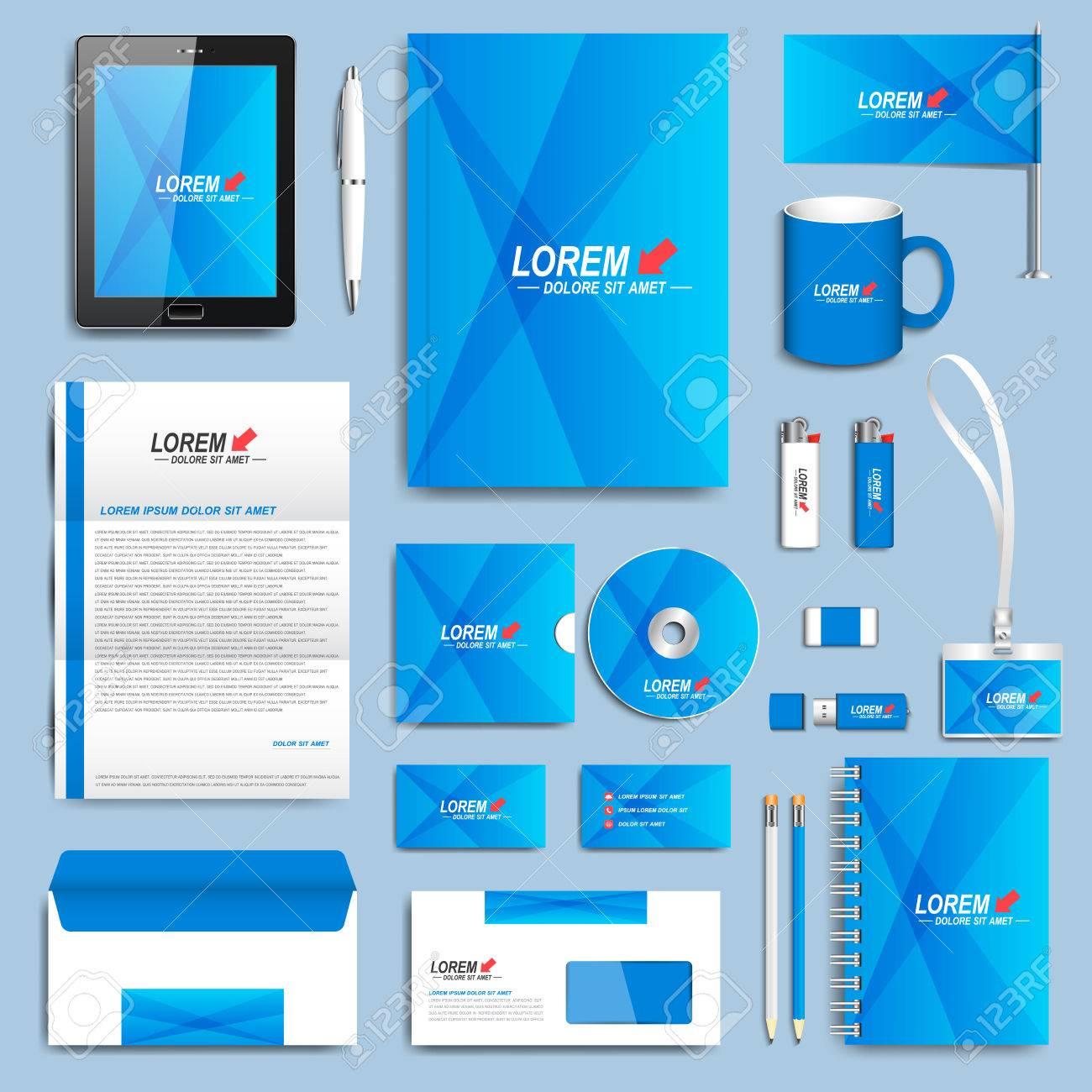 Blue set of vector corporate identity templates modern business blue set of vector corporate identity templates modern business stationery design stock vector accmission Images