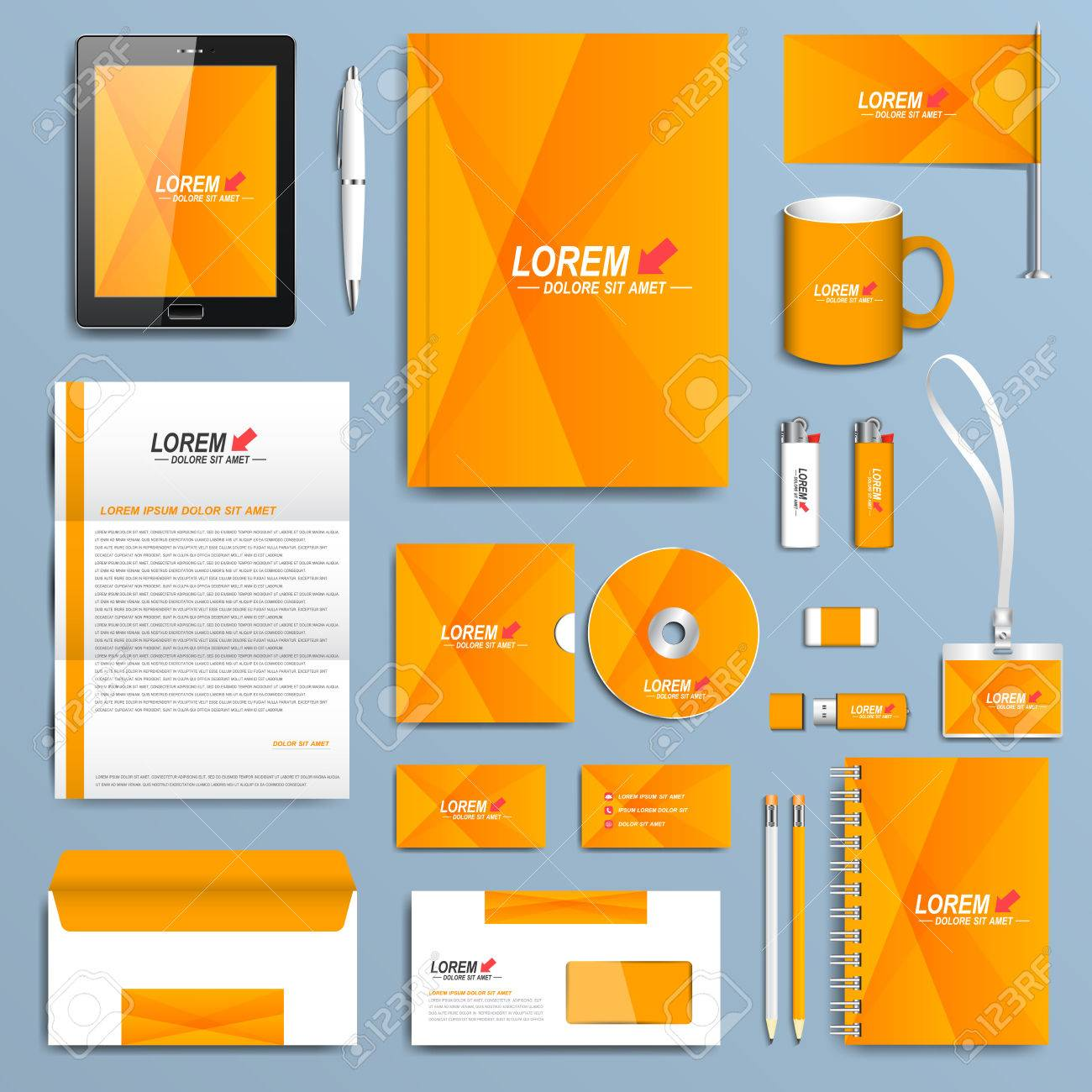 Yellow set of vector corporate identity templates modern business vector yellow set of vector corporate identity templates modern business stationery design accmission Image collections