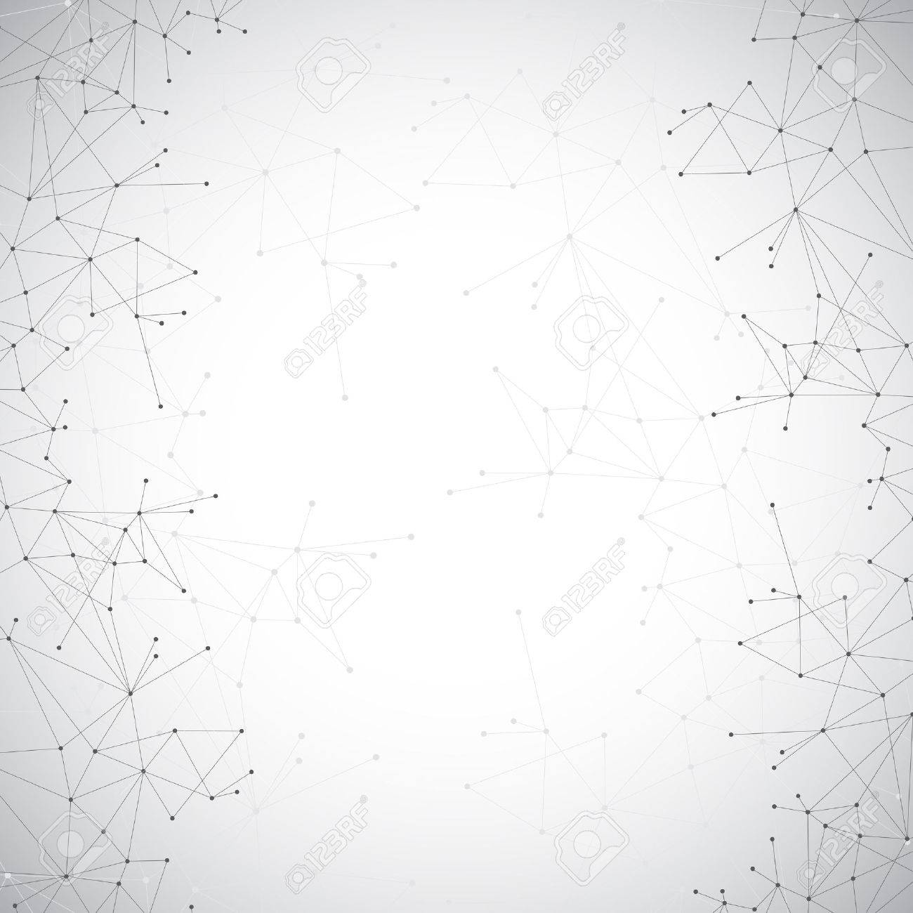 Geometric grey background molecule and communication . Connected lines with dots. - 53067542