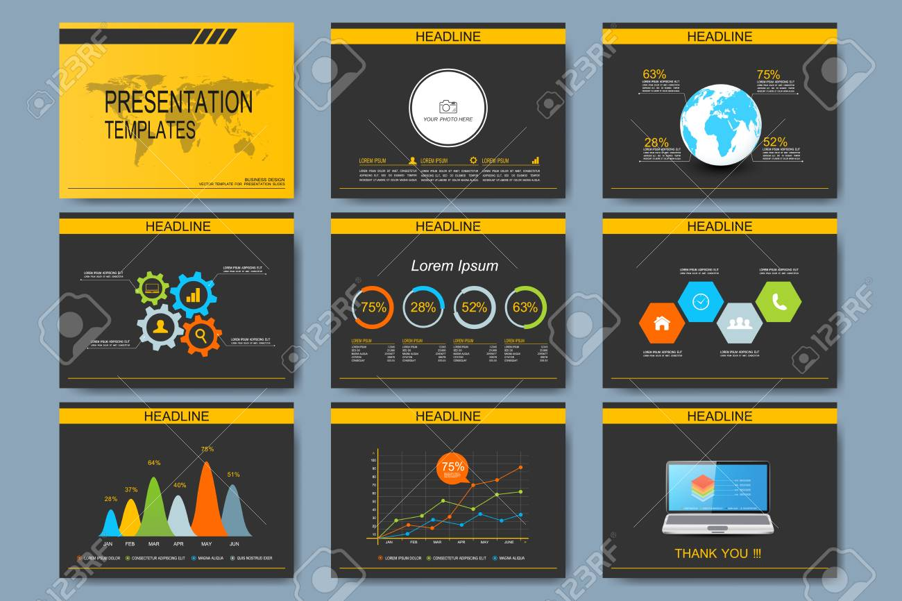 Black And Yellow Set Of Vector Templates For Multipurpose ...