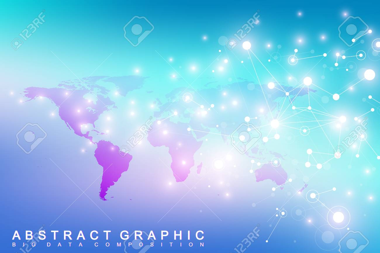 Geometric graphic background communication with world map big geometric graphic background communication with world map big data complex with compounds perspective backdrop gumiabroncs Gallery