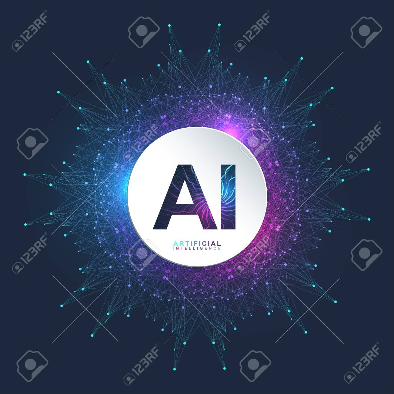 Artificial Intelligence Logo. Artificial Intelligence and Machine Learning Concept. Vector symbol AI. Neural networks and another modern technologies concepts. Technology sci-fi concept. - 97514614