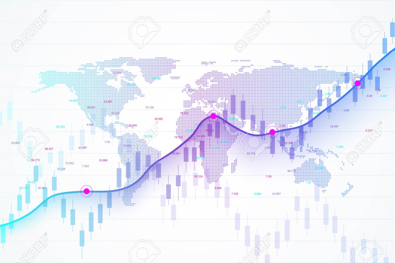 Stock market and exchange. Candle stick graph chart of stock market investment trading. Stock market data. Bullish point, Trend of graph. Vector illustration. - 98115660