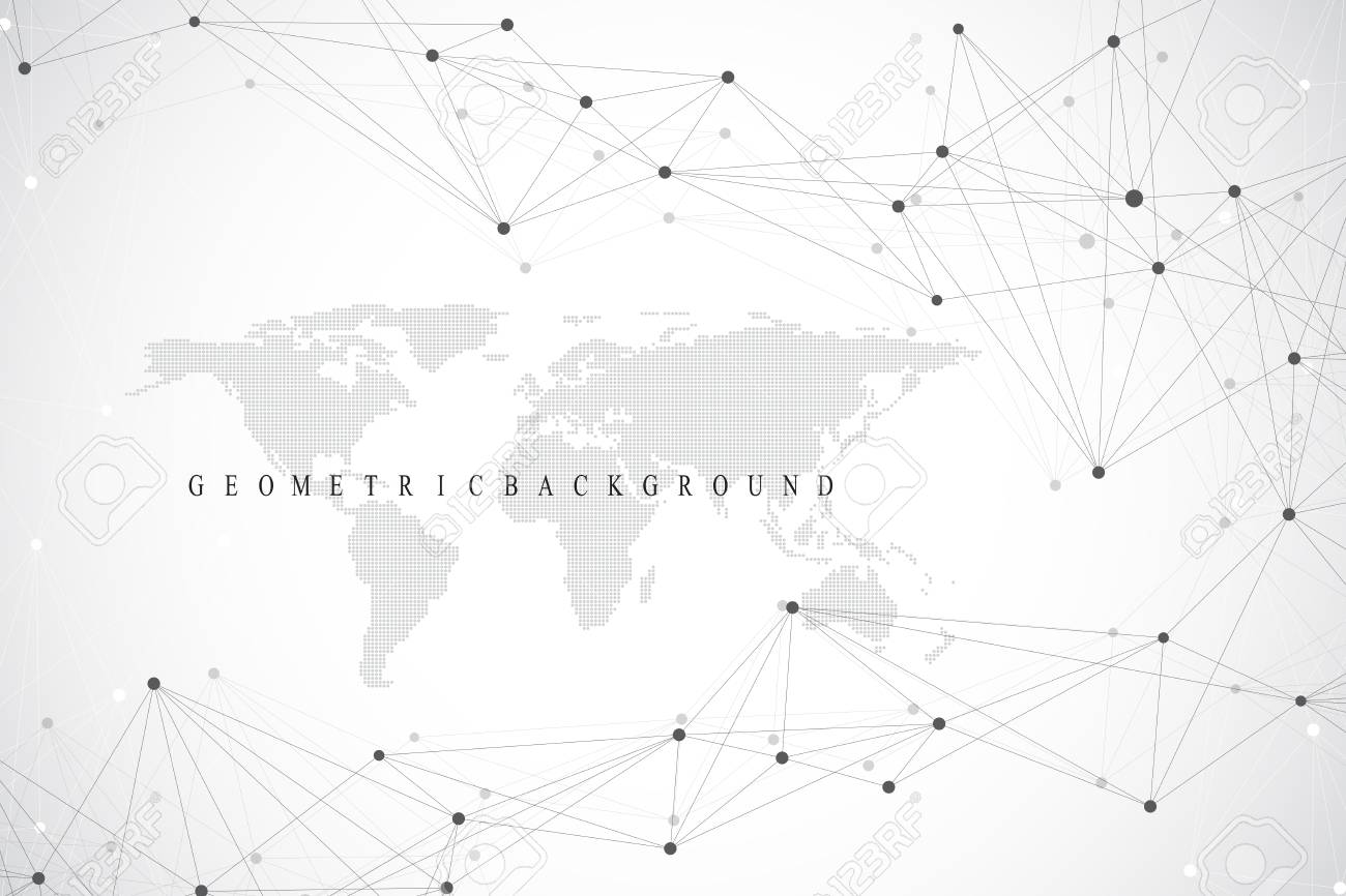 Political World Map with global technology networking concept. Digital data visualization. Scientific cybernetic particle compounds. Big Data background communication. Vector illustration - 100766787