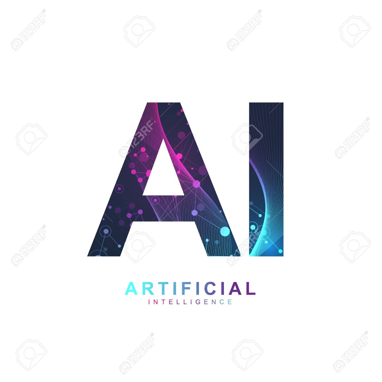 Artificial Intelligence Logo. Artificial Intelligence and Machine Learning Concept. Vector symbol AI. Neural networks and another modern technologies concepts. Technology sci-fi concept - 100773831
