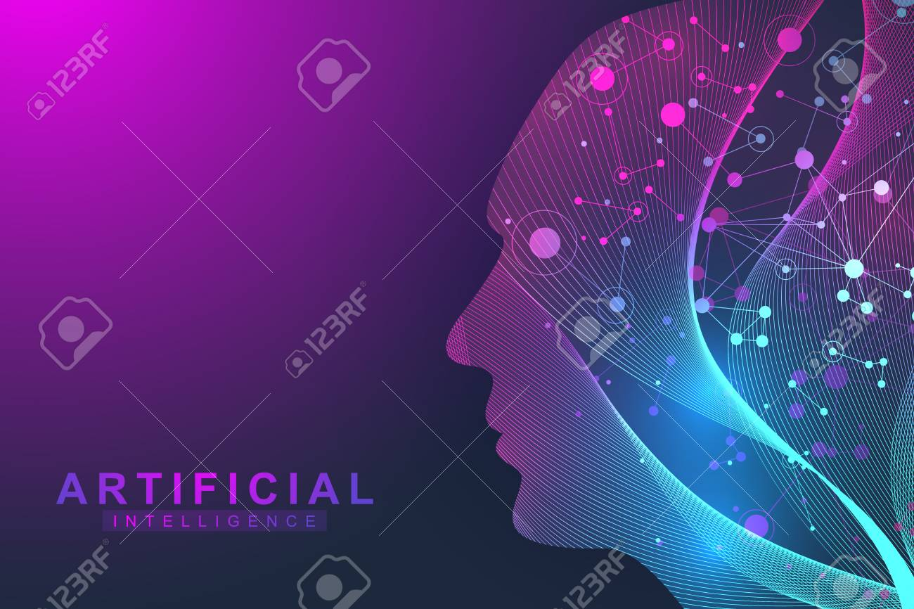Futuristic Artificial Intelligence and Machine Learning Concept.. Human Big Data Visualization. Wave Flow Communication, Scientific vector illustration. - 103919206