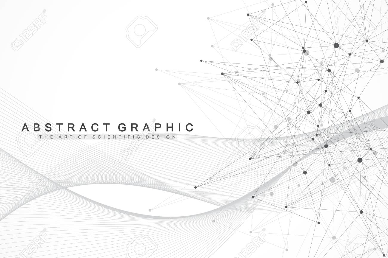 Geometric abstract background with connected lines and dots. Wave flow. Molecule and communication background. Graphic background for your design. Vector illustration - 117791748