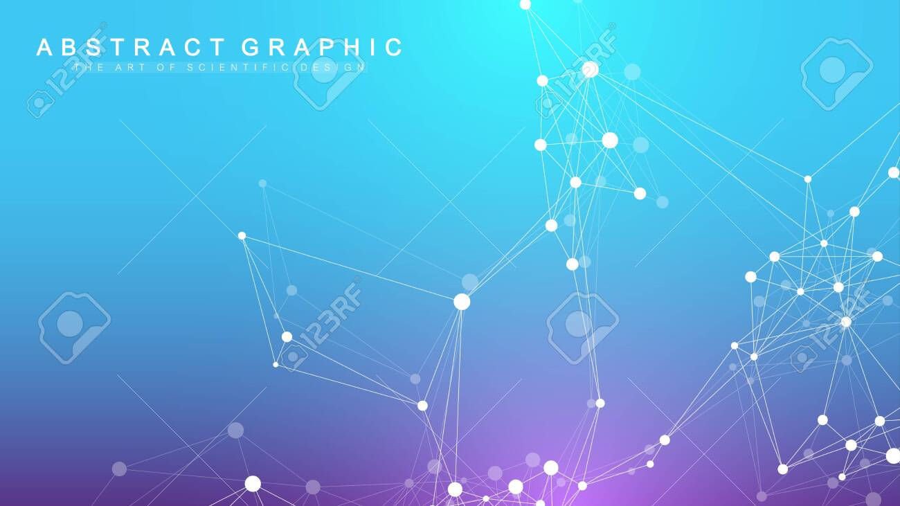 Geometric abstract background with connected line and dots. Network and connection background for your presentation. Graphic polygonal background. Wave flow. Scientific vector illustration. - 143955393