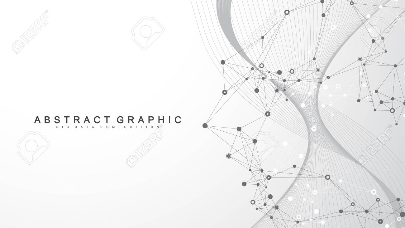 Abstract dynamic motion lines and dots background with colorful particles. Digital streaming background, wave flow. Plexus stream background. Technology vector illustration - 147860598