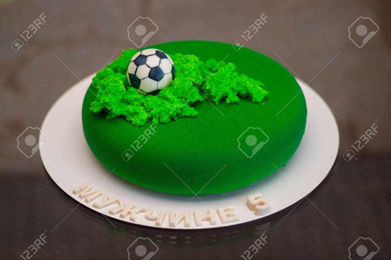 Outstanding Exclusive Birthday Cake For A Football Theme Russian Text Mens Personalised Birthday Cards Paralily Jamesorg