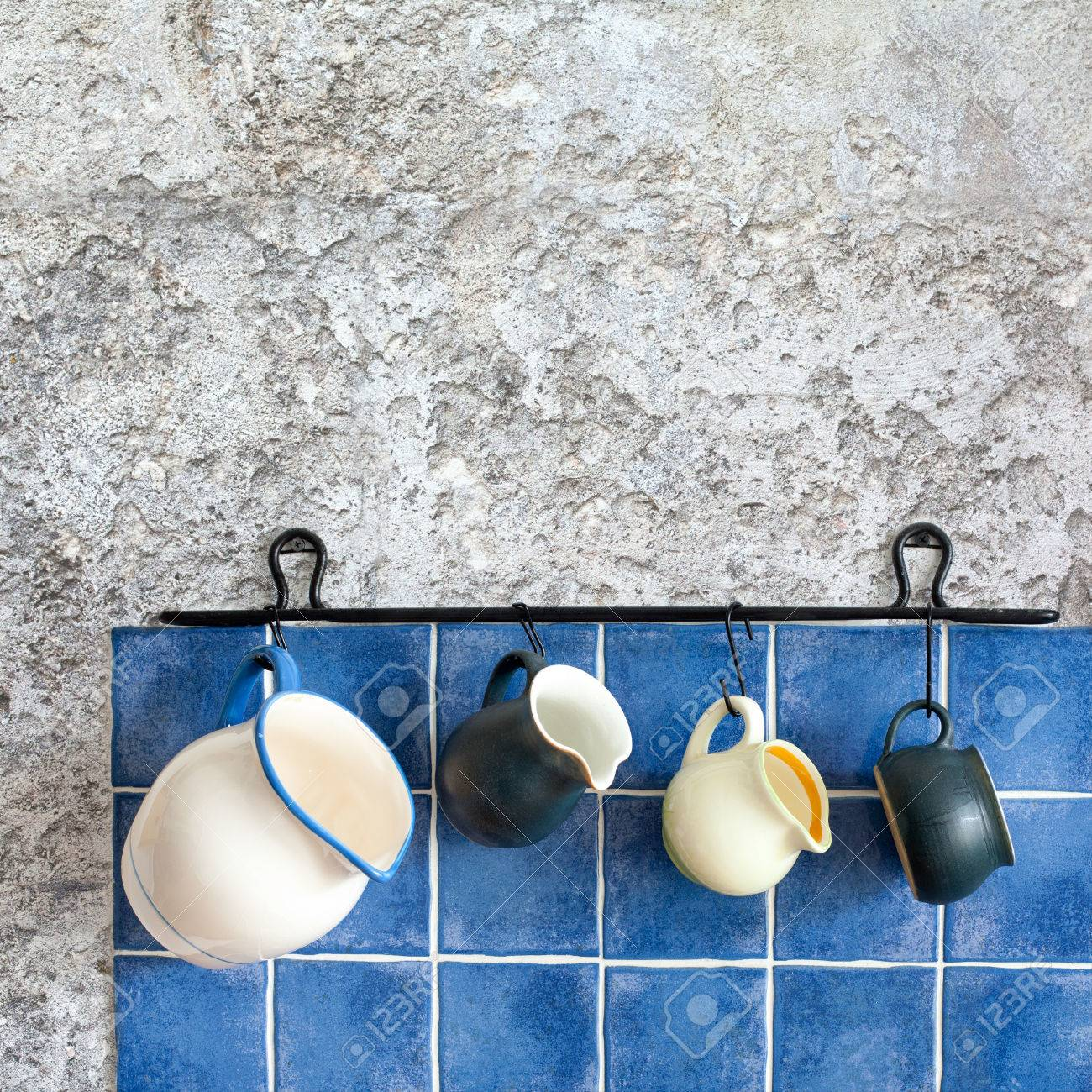 Kitchen Accessories Hanging Jugs Retro Design Ceramic Pitchers Stock Photo Picture And Royalty Free Image 44076664