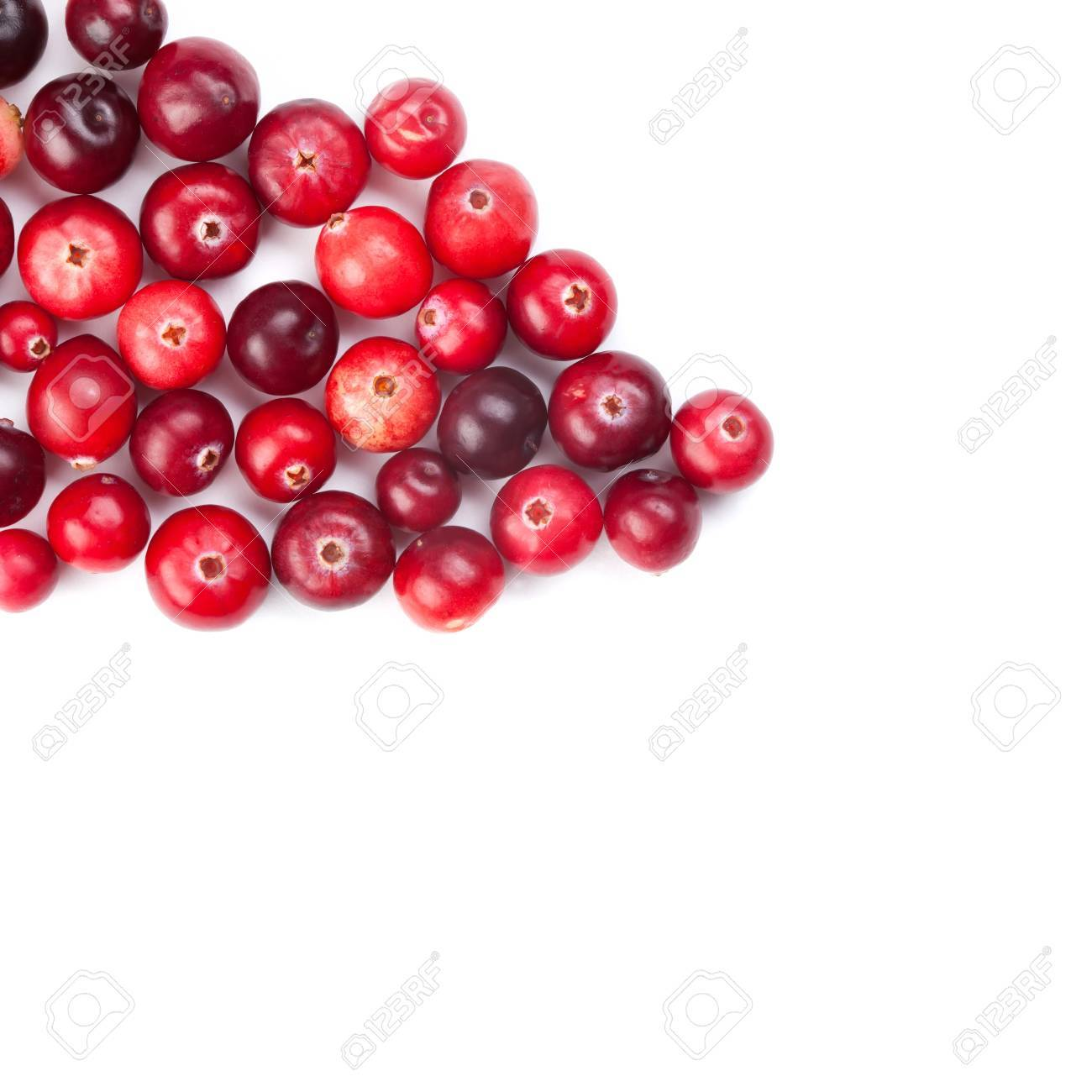 Red, ripe cranberries macro view on white background - 47100229
