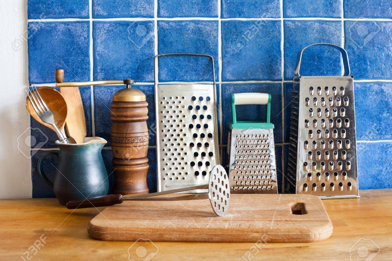 Kitchen Still Life. Vintage Utensils. Kitchenware Graters, Ceramic ...