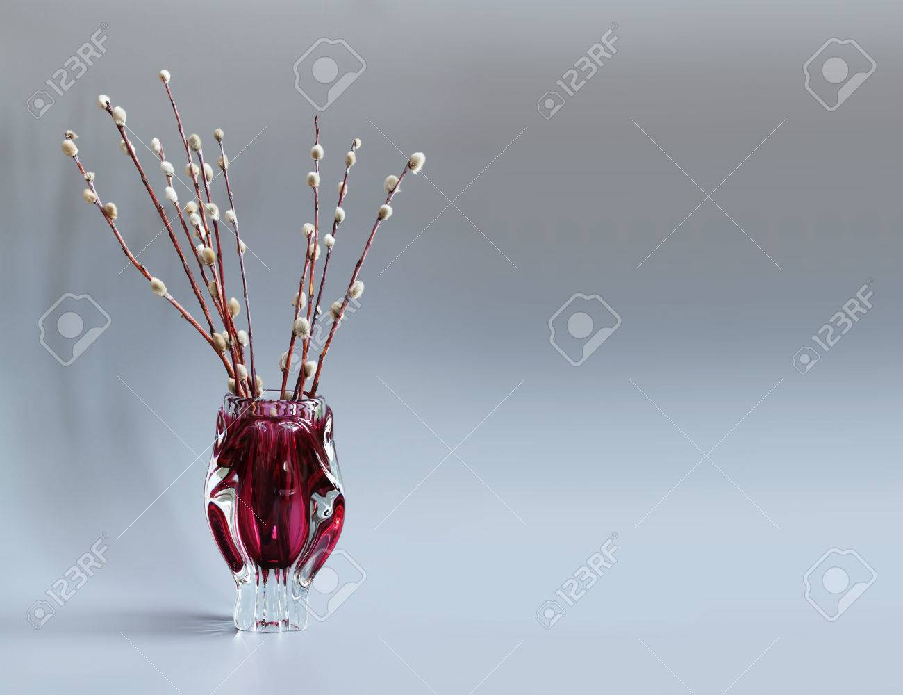 Pussy willow tree branch in red vase twigs of willow symbol pussy willow tree branch in red vase twigs of willow symbol palm sunday reviewsmspy