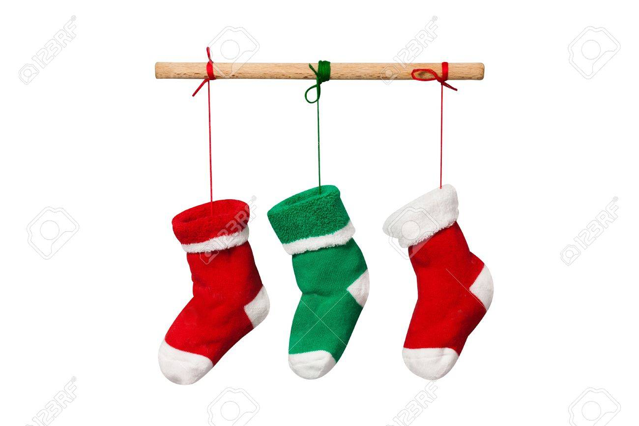 Hanging Christmas Socks Isolated On White Background Colorful