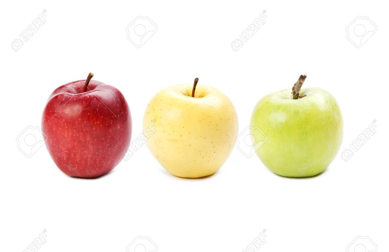 Bunte Äpfel. Gelb, Rot, Grün Farbige Früchte. Verschiedene Farben ...